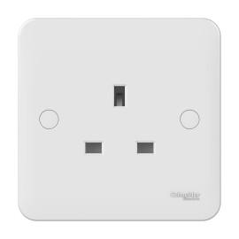 Lisse 1 Gang 13A Unswitched Socket in White Moulded, Schneider GGBL3050 Single Socket