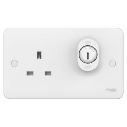 Schneider 2 Gang 13A Unswitched Lockable Socket in White Moulded (1g Socket + 1G Lock) Lisse GGBL3060L
