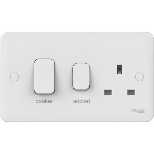 Lisse 2 Gang Cooker Unit 45A with LED indicator in White Moulded, Schneider GGBL4001 Cooker Unit