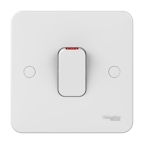 Lisse 1 Gang 50A Double Pole Switch with Red Indicator in White Moulded, Schneider GGBL4011 DP Switch with LED