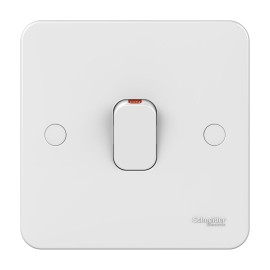 Lisse 1 Gang 32A Double Pole Switch with Red Indicator in White Moulded, Schneider GGBL4031 DP Switch with LED