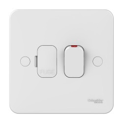Lisse 1 Gang Fused Connection Unit 13A Switched with LED Indicator in White Moulded, Schneider GGBL5011 Spur