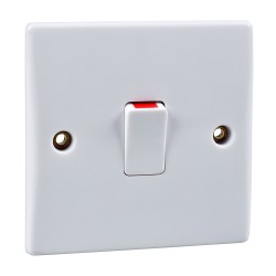 1 Gang 20A Double Pole Switch Ultimate Moulded White Plastic Plate Schneider GU2010