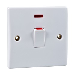 1 Gang 20AX Double Pole Switch with Neon Moulded White Plastic Schneider Ultimate GU2011