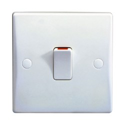 1 Gang 20AX Double Pole Switch with Flex Outlet Moulded White Plastic Schneider GU2013