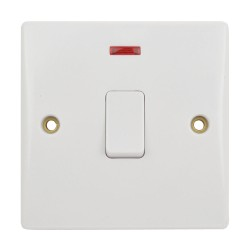 1 Gang 20AX DP Switch with Neon and Flex Outlet Moulded White Plastic Plate Schneider GU2014