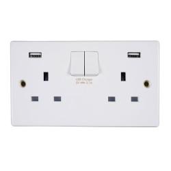2 Gang 13A Switched Socket with 2 x USB Charger Socket White Moulded Schneider GGBGU30202USBRP