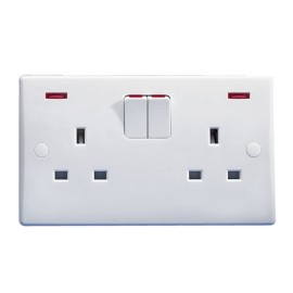 2 Gang 13A Switched Socket with Neon Indicators White Plastic Slimline Plate Schneider GU3021