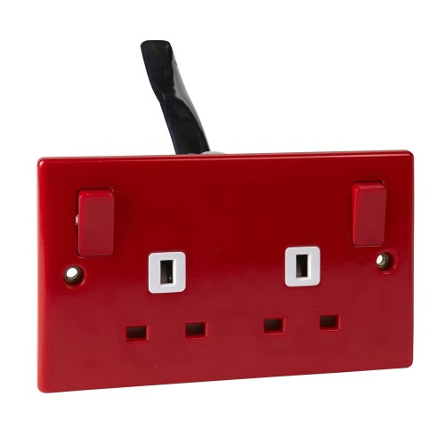 2 Gang 13A Double Pole Switched Socket in Red Plastic Slimline Plate Schneider GU3030RD
