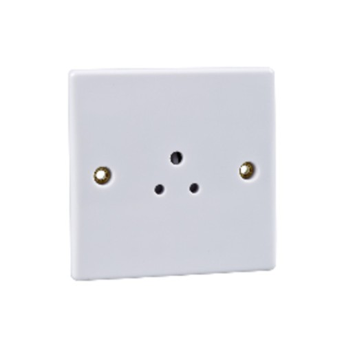 1 Gang 5A Unswitched Round Pin Socket in White Plastic Slimline Plate Schneider GU3080