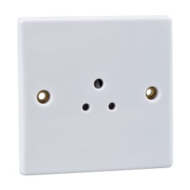 1 Gang 2A Unswitched Round Pin Socket in White Plastic Slimline Plate Schneider GU3070