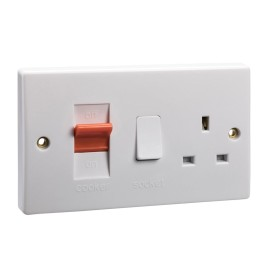 45A Cooker Switch with 13A Switched Socket in White Plastic Slimline Double Plate Schneider GU4000