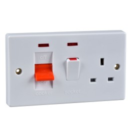 45A Cooker Switch with 13A Switched Socket and Neon Indicators White Plastic Slimline Schneider GU4001