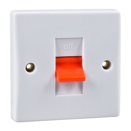1 Gang 50A Cooker Switch DP Red Rocker Single Plate White Plastic Slimline Plate Schneider GU4010