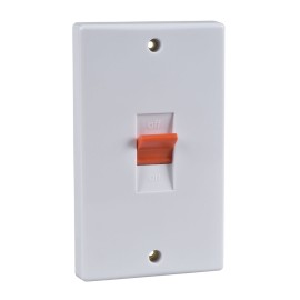 1 Gang 50A Red Rocker Cooker Switch Vertical Plate White Plastic Slimline Schneider GU4020