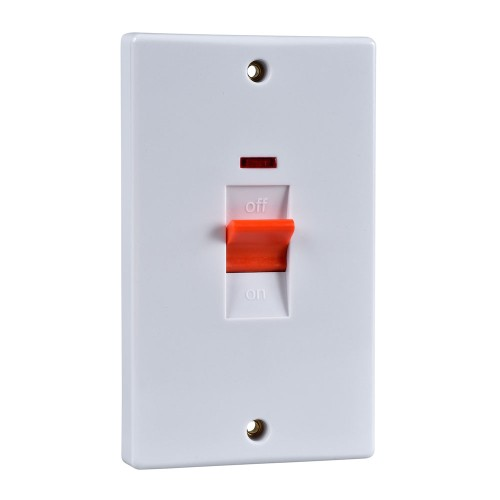 1 Gang 50A Red Cooker Switch with Neon Indicator Vertical Plate White Plastic Slimline Schneider GU4021