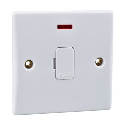 1 Gang 13A Unswitched Spur with Neon Indicator White Plastic Slimline Schneider GU5001