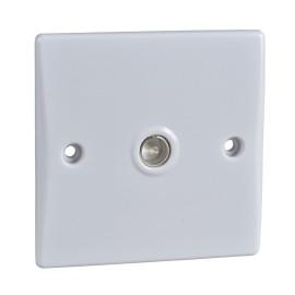 1 Gang Single Coax TV/FM Socket Ultimate Slimline White Plastic Schneider GU7010