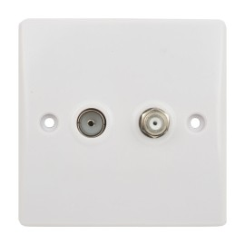2 Gang Satellite and Coaxial Socket Slimline White Plastic Plate Schneider Ultimate GU7040