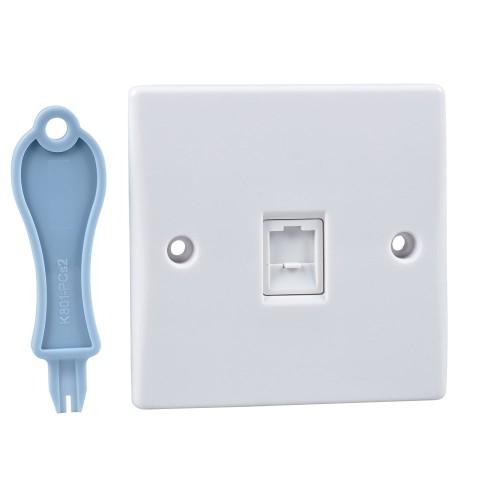 1 Gang Single RJ45 Data Socket Slimline White Plastic Schneider Ultimate GU7071