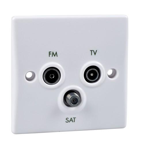1 Gang Triplex TV/FM/SAT Socket Slimline White Plastic Schneider Ultimate GU7081