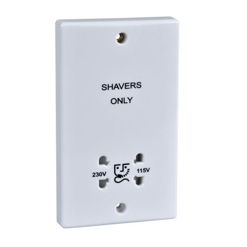 Dual Voltage Shaver Socket Outlet 110V/230V 20A Slimline White Plastic Schneider Ultimate GU7090