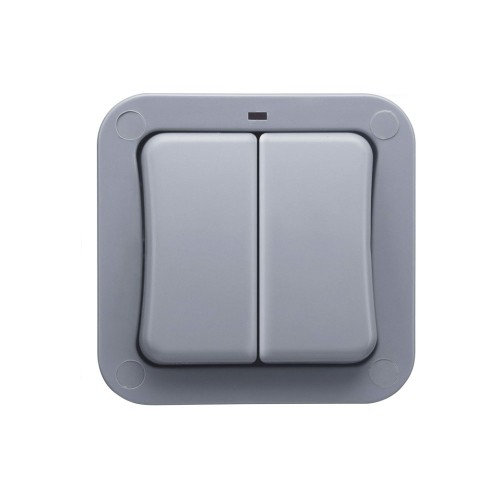 2 Gang 2 Way 20AX IP66 Grey Weatherproof Storm Double Switch with Neon Indicator for Outdoor