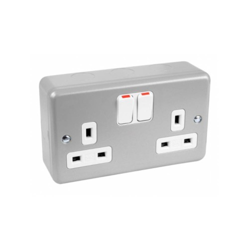 MK K2946ALM Metalclad Plus 2 Gang 13A Switched Socket Double Pole