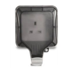 Weatherproof 1 Gang 13A Unswitched Socket IP66 Rated with Plug in Use