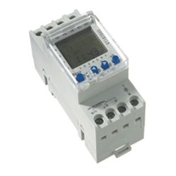 7 Day Digital Timer 2 Channel 24h 16A for DIN Rail Mounting, Digital Time Clock