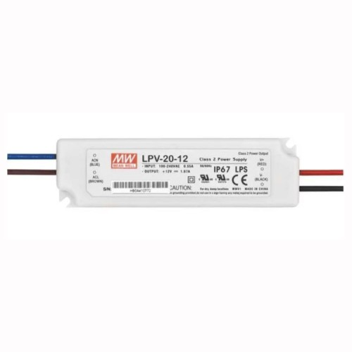 IP67 20W 12V Constant Voltage Non-Dimmable LED Driver, 90-264V AC, 47-63Hz, Meanwell LPV-20-12