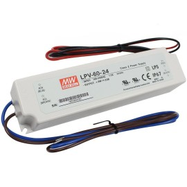 IP67 rated 24V 60W Non-Dimmable Constant Voltage LED Driver 100-240V AC Input, Mean Well LPV-60-24