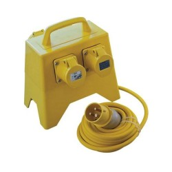 4 x 110V 16A Socket Distribution Box with 1.5mm 5m Cable and 110V 16A Plug, Extension Outlet for Site Use