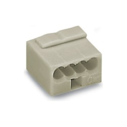 Wago 243-304 Micro Push-Wire 4 Conductor Terminal Block 100V/1.5kV/2-6A for 0.6-0.8mm Lead