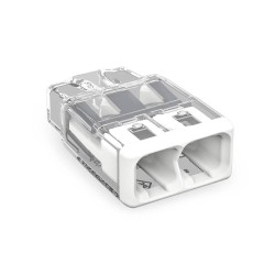 Wago 2 x 4mm Push Wire 31A Connector White with Transparent for Wires max. 4mm2, Wago 2773-402 Compact Splicing Connector