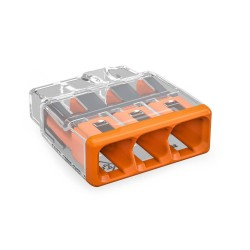 Wago 2773-403 3 x 4mm 32A Push Wire Connector in Orange and Transparent for Cable up to 4mm2, Compact Splicing Connector