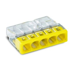 Wago 2773-405 5 x 4mm 32A Push Wire Connector for 5-conductor up to 4mm2 in Yellow with Transparent, Compact Splicing Connector