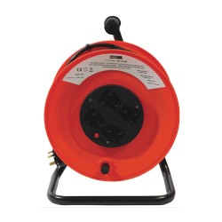 Red and Black 4 x 13A Socket Extension Steel with Stand and 50m Cable for Indoor usage