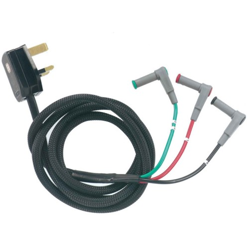 3 Wire Lead Set: Mains Lead for Multifunction Testers UK 13A to 4mm Plugs, Di-Log ML9073