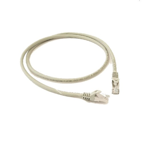 1m CAT6a Patch Cable in Grey, Screened twisted pair(S/FTP) Shielded Patchcord with RJ45 Plugs