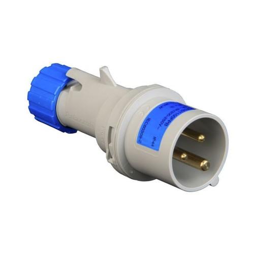 Protected Blue Male Plug 2P+E 16A 240V IP44 Splashproof Multimax Industrial Plug