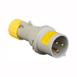 16A 2 Pole + Earth 110V Plug IP44 rated in Grey with Yellow, Lewden PM16/1000FPB Plug