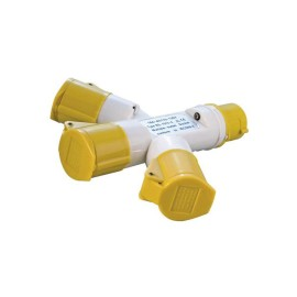 16A 110V 3 Way Cable Splitter, 3-pin Industrial 3 Way Adaptor 110V in Yellow IP44 rated
