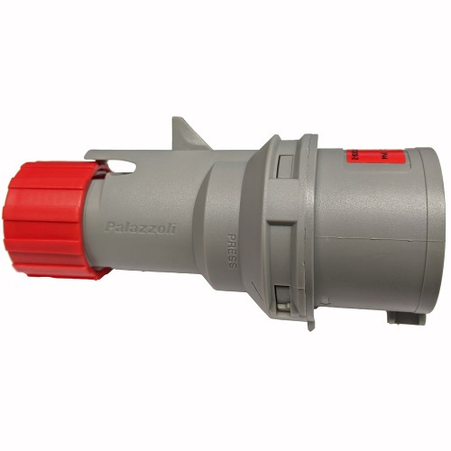 16A 3 Pole + Neutral + Earth 400V Plug IP44 rated in Grey with Red, Lewden PM16/1800FPB Plug