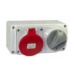 Lewden PM16/454146LW Surface Interlocked Socket 3P+N+E (5 Pin) Horizontal IP44 Red - 16 Amp