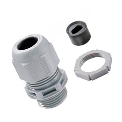 Wiska Plastic Cable Gland LSF 20mm Kit for 2 x 1-1.5mm2 Flat Cable c/w Insert and Locknut IP68