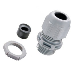 Wiska Plastic Cable Gland LSF 20mm Kit for 1-1.5mm2 Flat Cable c/w Insert and Locknut IP68