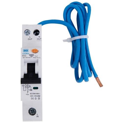 BG 32A RCBO Single Pole Type A 30mA 6kA B Curve for the BG Consumer Units, BG CUCRB32A Circuit Breaker