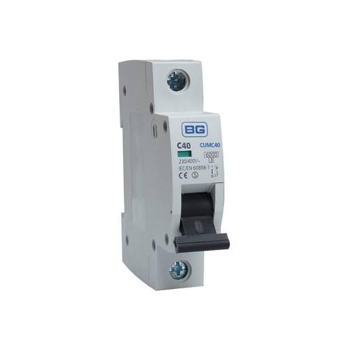 BG CUMC40 40A Type C MCB Single Pole 6kA Breaking capacity Miniature Circuit Breaker for BG Consumer Units