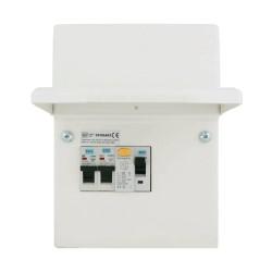 BG 2 Way Garage Consumer Unit IP20 Kit Enclosure 40A 30mA RCD and 6A + 32A 2 MCBs, BG CFUGAR1